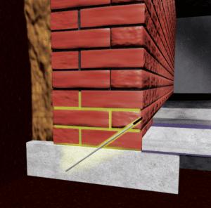 Ein Silicon-Mikroemulsionskonzentrat wird durch gebohrte Injektionskanäle zur Abdichtung ins Mauerwerk eingebracht