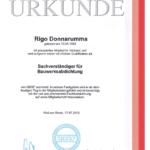Urkunde Rigo Donnarumma Schadensanalyse feuchte Bauwerke